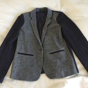 JCREW blue and grey jersey woman's fitted coat